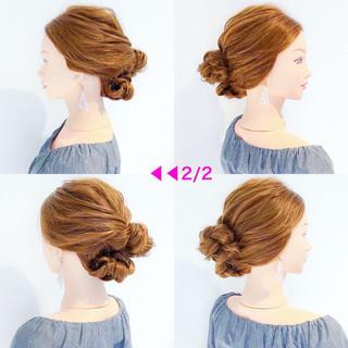 ヘアアレンジ デート アウトドア フェミニン ヘアスタイルや髪型の写真・画像