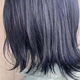 透明感カラー ネイビー ネイビーカラー ボブ ヘアスタイルや髪型の写真・画像