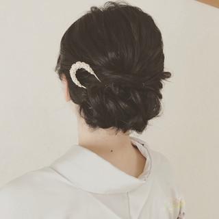 黒髪 ヘアアレンジ エレガント セミロング ヘアスタイルや髪型の写真・画像