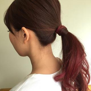 ロング 簡単ヘアアレンジ ローポニーテール ポニーテール ヘアスタイルや髪型の写真・画像