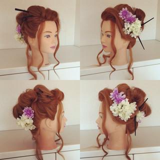 セミロング 成人式 アップスタイル 和装 ヘアスタイルや髪型の写真・画像