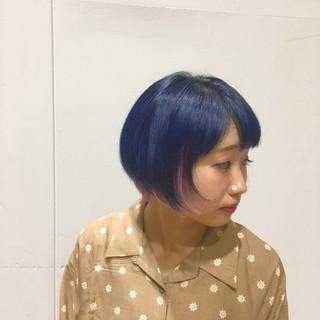ストリート ブルー ネイビー インナーカラー ヘアスタイルや髪型の写真・画像