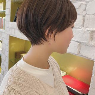 ショートヘア ナチュラル 丸みショート 大人かわいい ヘアスタイルや髪型の写真・画像