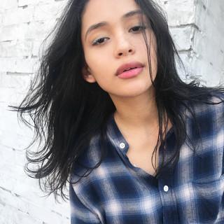 色気 黒髪 抜け感 イルミナカラー ヘアスタイルや髪型の写真・画像