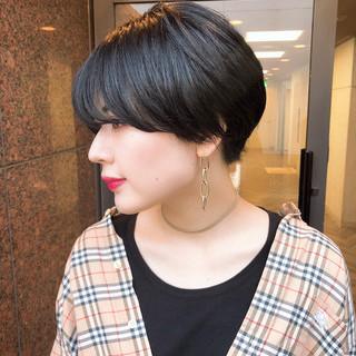 ショートヘア ショート ナチュラル 黒髪 ヘアスタイルや髪型の写真・画像