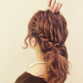 ボブ ロープ編み ヘアアレンジ ミディアム ヘアスタイルや髪型の写真・画像