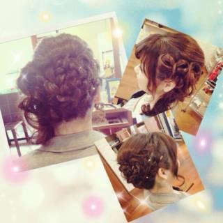 ヘアアレンジ 編み込み パーティ 大人かわいい ヘアスタイルや髪型の写真・画像
