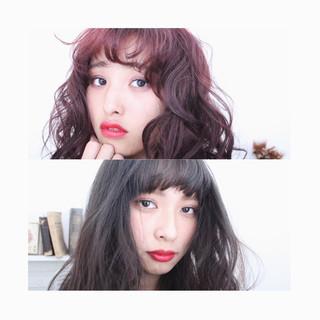 セミロング グラデーションカラー 大人女子 ヘアアレンジ ヘアスタイルや髪型の写真・画像