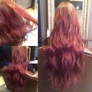 ストリート レッド 春 ロング ヘアスタイルや髪型の写真・画像