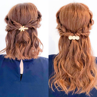 ロング 結婚式 簡単ヘアアレンジ アウトドア ヘアスタイルや髪型の写真・画像