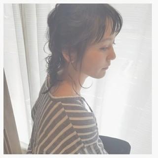 簡単ヘアアレンジ ゆるふわ 斜め前髪 ショート ヘアスタイルや髪型の写真・画像