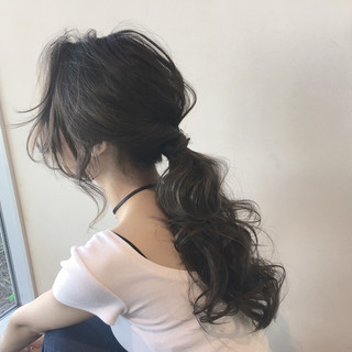 グラデーションカラー 簡単ヘアアレンジ ナチュラル ロング ヘアスタイルや髪型の写真・画像