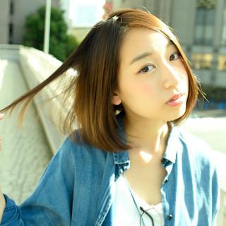外国人風 ボブ 抜け感 ストレート ヘアスタイルや髪型の写真・画像