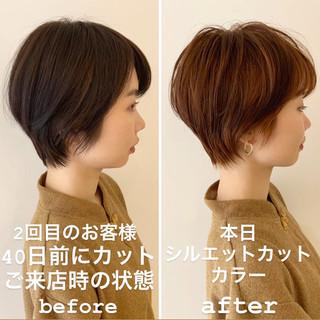 ナチュラル 似合わせ 小顔ショート マッシュショート ヘアスタイルや髪型の写真・画像 ヘアスタイルや髪型の写真・画像