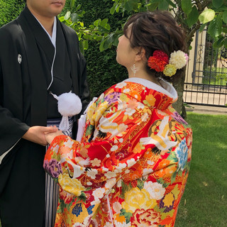 フェミニン ヘアセット アップスタイル 結婚式 ヘアスタイルや髪型の写真・画像