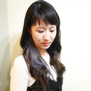 色気 ナチュラル ハイライト セミロング ヘアスタイルや髪型の写真・画像