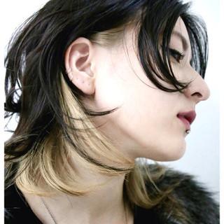 グラデーションカラー 外国人風 黒髪 セミロング ヘアスタイルや髪型の写真・画像
