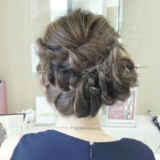大人かわいい セミロング 結婚式 ヘアアレンジ ヘアスタイルや髪型の写真・画像