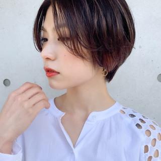 ナチュラル インナーカラー ショート ショートボブ ヘアスタイルや髪型の写真・画像