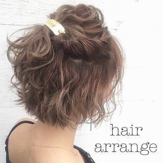 簡単ヘアアレンジ ハーフアップ ヘアアレンジ ショート ヘアスタイルや髪型の写真・画像