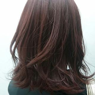 ロブ レッド ストリート ピンク ヘアスタイルや髪型の写真・画像
