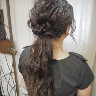 編み込み 簡単ヘアアレンジ 波ウェーブ ショート ヘアスタイルや髪型の写真・画像