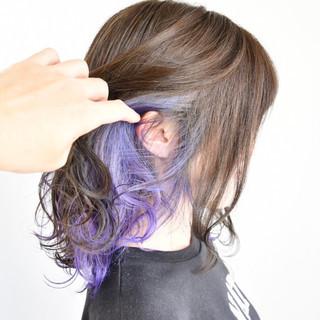 インナーカラー デート ゆるふわ グラデーションカラー ヘアスタイルや髪型の写真・画像