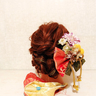 セミロング 謝恩会 簡単ヘアアレンジ 和装 ヘアスタイルや髪型の写真・画像 ヘアスタイルや髪型の写真・画像