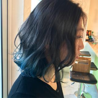 ゆるふわ ブルー 大人かわいい ブルージュ ヘアスタイルや髪型の写真・画像