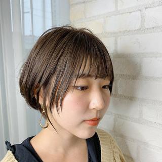簡単ヘアアレンジ オフィス ショート ショートボブ ヘアスタイルや髪型の写真・画像