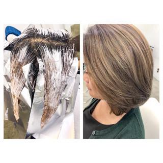アッシュ グレージュ 外国人風カラー ワンカール ヘアスタイルや髪型の写真・画像