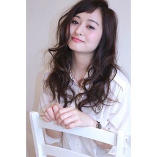 ゆるふわ 前髪あり フェミニン セミロング ヘアスタイルや髪型の写真・画像