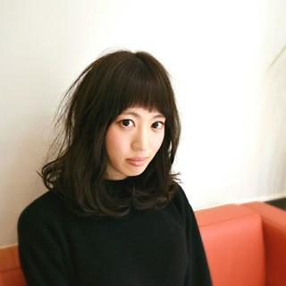 暗髪 ナチュラル セミロング ストレート ヘアスタイルや髪型の写真・画像