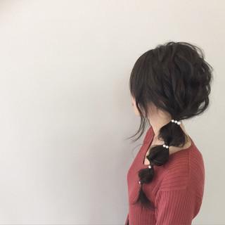 簡単ヘアアレンジ ヘアアレンジ くるりんぱ ガーリー ヘアスタイルや髪型の写真・画像
