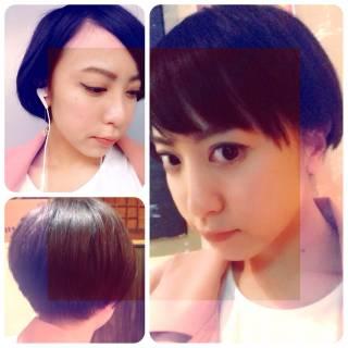 黒髪 ショート 刈り上げ ストリート ヘアスタイルや髪型の写真・画像