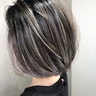 ストリート ハイライト アウトドア ボブ ヘアスタイルや髪型の写真・画像