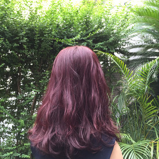 ストリート 外国人風 セミロング レッド ヘアスタイルや髪型の写真・画像