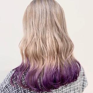 ストリート ロング ブリーチカラー ホワイトブリーチ ヘアスタイルや髪型の写真・画像