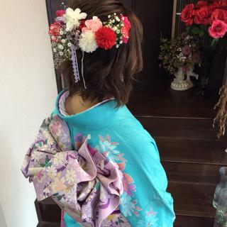 ヘアアレンジ ガーリー 成人式ヘア ボブ ヘアスタイルや髪型の写真・画像 | rumiLINKS美容室 / リンクス美容室