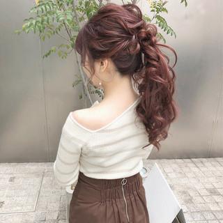 大人かわいい ポニーテール フェミニン デート ヘアスタイルや髪型の写真・画像 ヘアスタイルや髪型の写真・画像