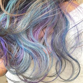 ストリート 外国人風カラー ミディアム ダブルカラー ヘアスタイルや髪型の写真・画像