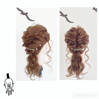 くるりんぱ フィッシュボーン セミロング 編み込み ヘアスタイルや髪型の写真・画像 ヘアスタイルや髪型の写真・画像