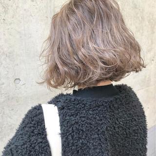 ボブ グレージュ ストリート ラベンダー ヘアスタイルや髪型の写真・画像