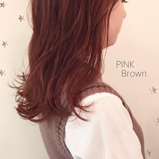 ストリート ピンク セミロング アンニュイほつれヘア ヘアスタイルや髪型の写真・画像