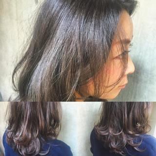 セミロング パーマ ハイライト グラデーションカラー ヘアスタイルや髪型の写真・画像