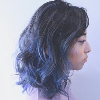 パープル インナーカラー ボブ ハイライト ヘアスタイルや髪型の写真・画像