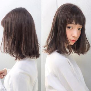 前髪あり パーマ ミディアム フリンジバング ヘアスタイルや髪型の写真・画像