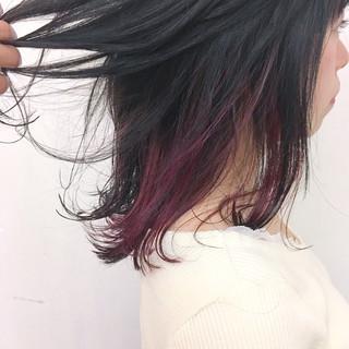 ピンク ガーリー アッシュ インナーカラー ヘアスタイルや髪型の写真・画像