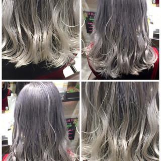 ホワイト ストリート ホワイトアッシュ グレージュ ヘアスタイルや髪型の写真・画像
