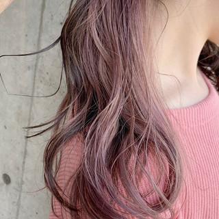 セミロング ピンク パステルカラー 透明感カラー ヘアスタイルや髪型の写真・画像